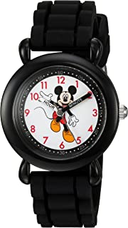 DISNEY Boys' Mickey Mouse Analog-Quartz Watch with Silicone Strap, Black, 16 (Model: WDS000011