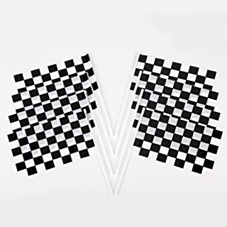Fun Central 72 Pieces - Black & White Plastic Racing Flags in Bulk - Checkered Flags for Race Car Parties and Sport Events