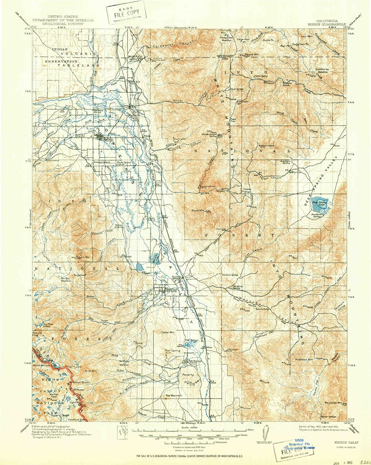 Bishop CA topo map, 1 125000 Scale, 30 X 30 Minute, Historical, 1913, Updated 1950, 20.7 x 16.5 in