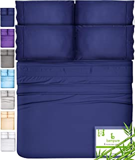 6 Piece Bamboo Sheets Queen Bamboo Sheets - 100% Organic Bamboo Bed Sheets Queen Sheet Set Cooling Sheets Queen Size Sheets Deep Pocket Queen Sheets Queen Bed Sheets Queen Size Cool Sheets Navy Blue