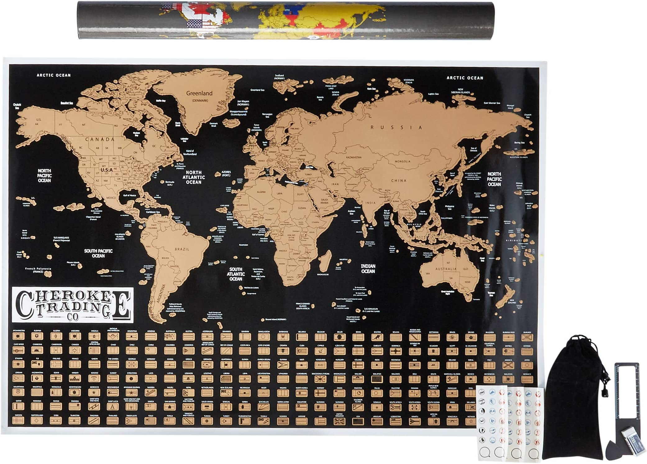 Details about  /World Map Nation Flags Satellite Picture of Earth Sizes A1 A2
