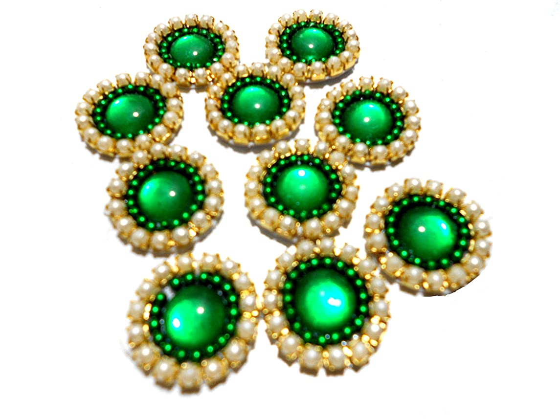 Goelx Pearl Patches Colorful Round Shape Handmade Appliques Embellishments for Decoration, Crafts Ideas, Jewelery Making, Easy to Use Pack of 50 - Green (15mm)