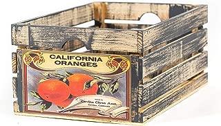 At Home on Main Handmade Rustic Wood Fruit Vegetable Crate (California Oranges)