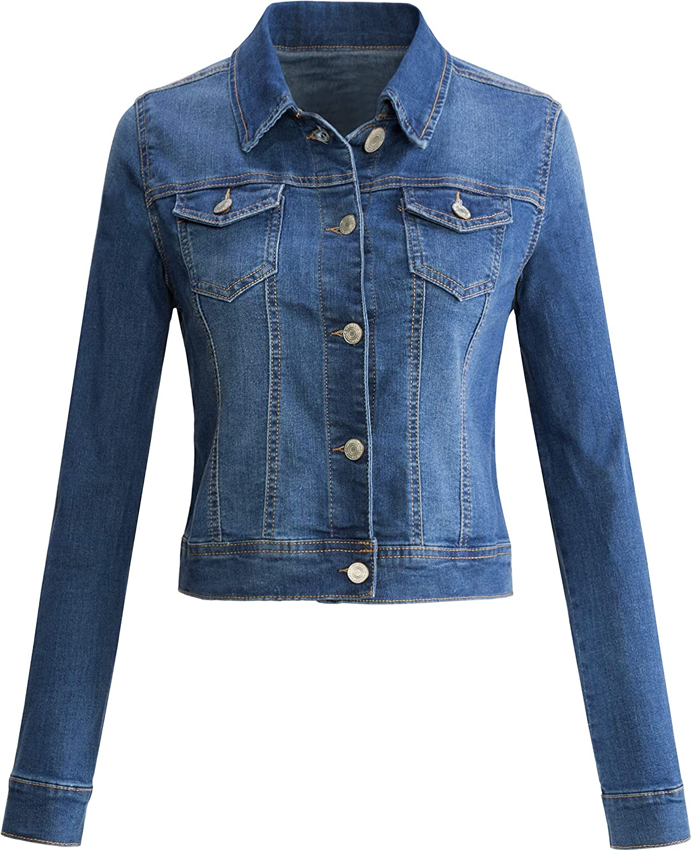 URBAN Max Max 50% OFF 88% OFF K Womens Long-Sleeve Distressed Jean Up Button Denim Jacke