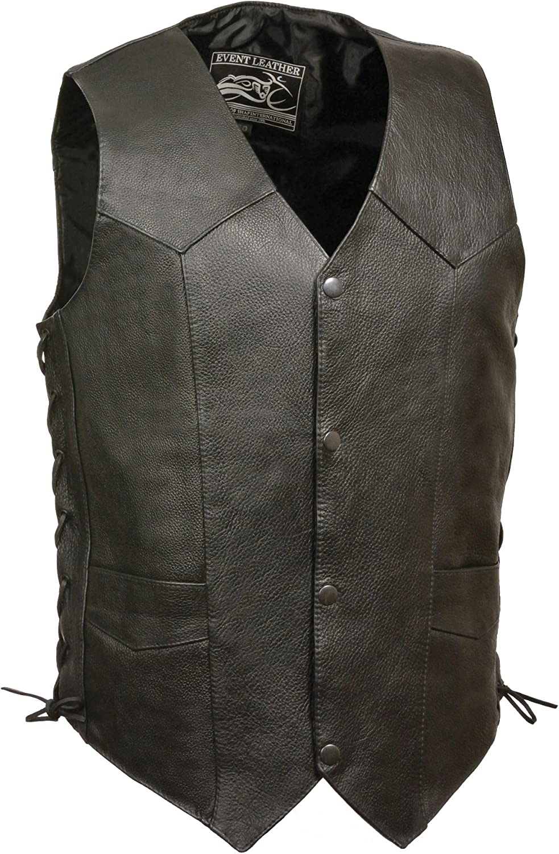 Event Biker Leather Men's Promo Grade Side Lace Leather Vest