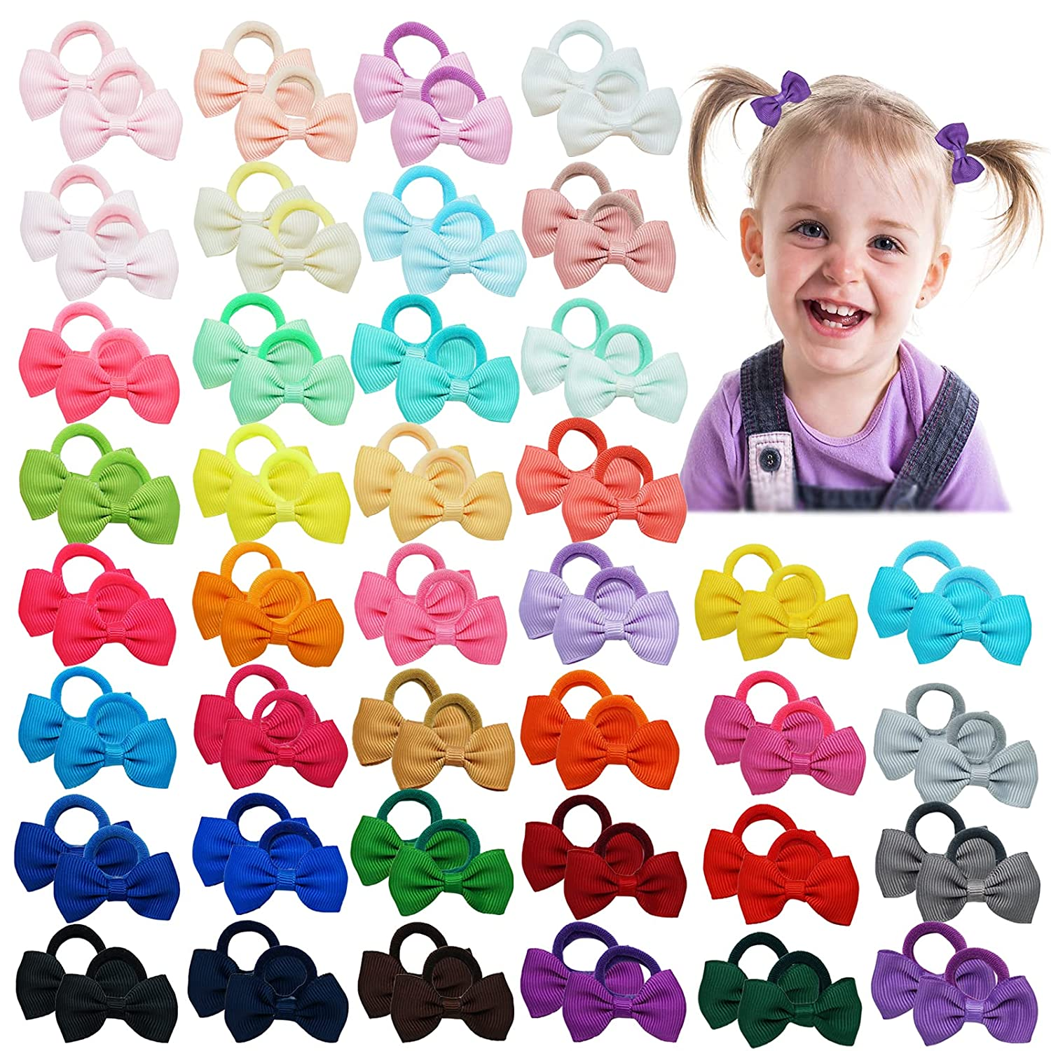 80PCS Baby Girls Hair Bows Ties 1.8Inch Grosgrain Ribbon Tiny Hair Bows Elastic Rubber Hair Bands Ponytail Holders Accessories for Newborns Infants Toddlers Kids 40Colors in Pairs
