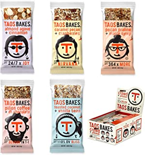 Taos Bakes Energy Bars - Crowd + Pleaser Variety Pack (Box of 12, 1.8oz Bakes) - Gluten-Free, Non-GMO, Healthy Snack Bars