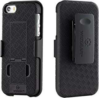 WizGear Shell Holster Combo Case with Kick-Stand and Belt Clip for Apple iPhone Se/5/5S Compatible with Att, Verizon, T-Mobile Sprint