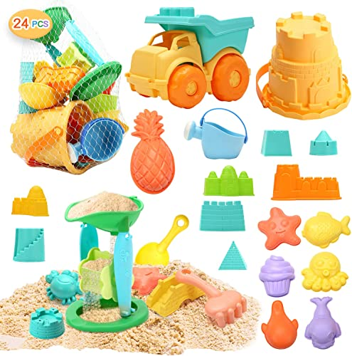 2021 CUTE STONE online sale 24 PCS Beach Sand Toys Set Sandbox Toys with Dump Truck, Castle & Animals online sale Sand Molds, Bucket, Sand Water Wheel, Shovels, Carry Mesh Bag, Outdoor Kit for Kids, Toddlers online