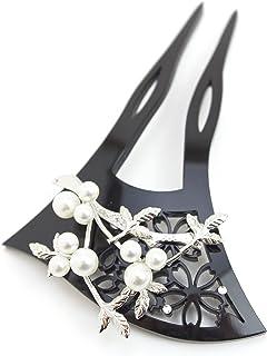 (ソウビエン) バチ型簪 かんざし 桜 南天 結婚式 着物 和装