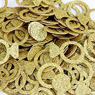 Gold Glitter Double Sided Ring Finger Paper Confetti for Table Wedding Birthday Party Decoration,1.2 inch in Diameter(100pcs)