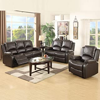 mecor 3 Piece Sofa Set Bonded Leather Reclining Sofa Motion Sofa with 3-Seat Sofa, Loveseat and Recliner Chair, Living Room Furniture Brown