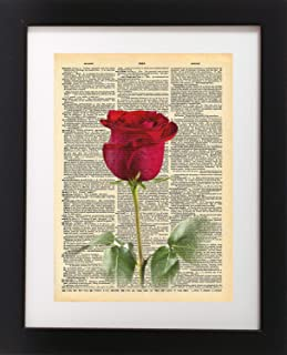 Red Rose Vintage Dictionary Print 8x10 inch Home Vintage Art Abstract Prints Wall Art for Home Decor Wall Decorations For Living Room Bedroom Office Ready-to-Frame