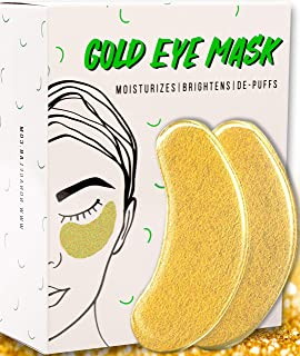 Under Eye Gold Eye Mask - Energizing, Moisturising 24k Gold Collagen Patches for Reducing Dark Circles Puffiness Undereye Bags, Wrinkles (15 Pairs)