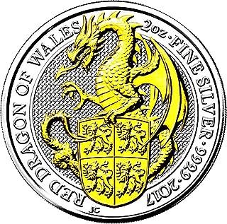2017 GB Queen Beasts Gilded PowerCoin DRAGON 2 Oz Silver Coin 5£ United Kingdom 2017 BU Brilliant Uncirculated