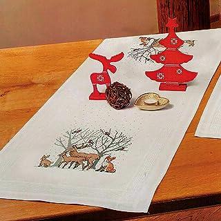 Kamaca Stickpackung Waldtiere Kreuzstich vorgezeichnet aus 100% Baumwolle zum Selbersticken Tischläufer 40x100 cm