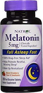 2 Pack: Natrol Melatonin 5 Milagram Strawberry Flavor 250 Fast Dissolve Tablets