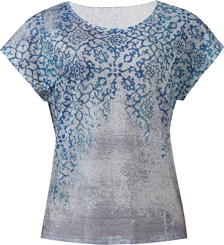 U/D Women's Casual Round Neck Printed Bat Short Sleeve T-Shirt