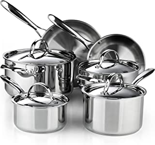 Cooks Standard 02631 Classic 10-Piece Stainless Steel Cookware Set, Silver