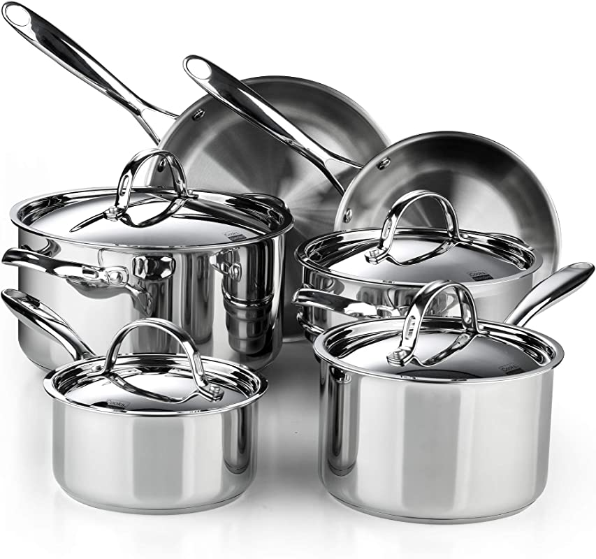 Cooks Standard 02631 Classic 10 Piece Stainless Steel Cookware Set Silver