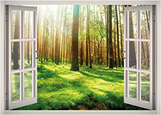 West Mountain Calm Forest View Window 3D Wall Decal Art Removable Wallpaper Mural Sticker Vinyl Home Decor W06 (Small (2...