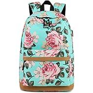 Leaper Cute School Backpack Girls Daypack Bookbag USB Charging Port Water blue