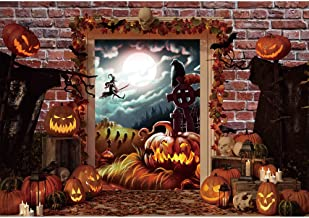 Haboke 7x5ft Durable Fabric Nightmare Before Christmas Themed Backdrop Haunted Cemetery Horror Moon Pumpkin Halloween Party Decorations for Photography Background Supplies Photo Studio Props