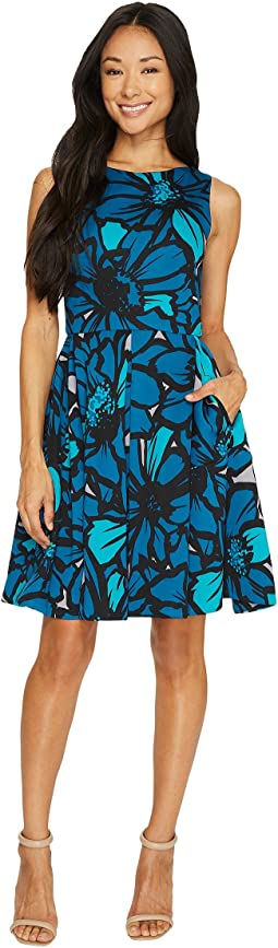 Flower Printed Scuba Fit-and-Flare