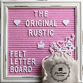 Pink Felt Letter Board Rustic White Wood Farmhouse Vintage Frame and Stand by Felt Creative Home Goods | 10