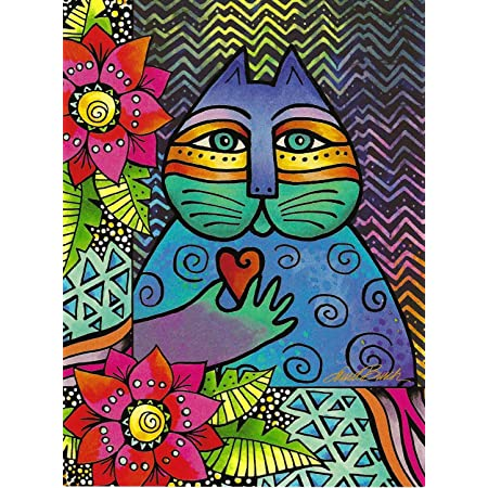 LAUREL BURCH Blue Red Cats Kitties Floral Pattern Friendship Greeting Card NEW