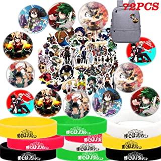 My Hero Academia Stickers Button Pins Bracelets Gift Set, MHA Party Supplies - 50 Pack Stickers, 12 Pack Button Pins, 10 Pack Bracelets for Anime Party Favors
