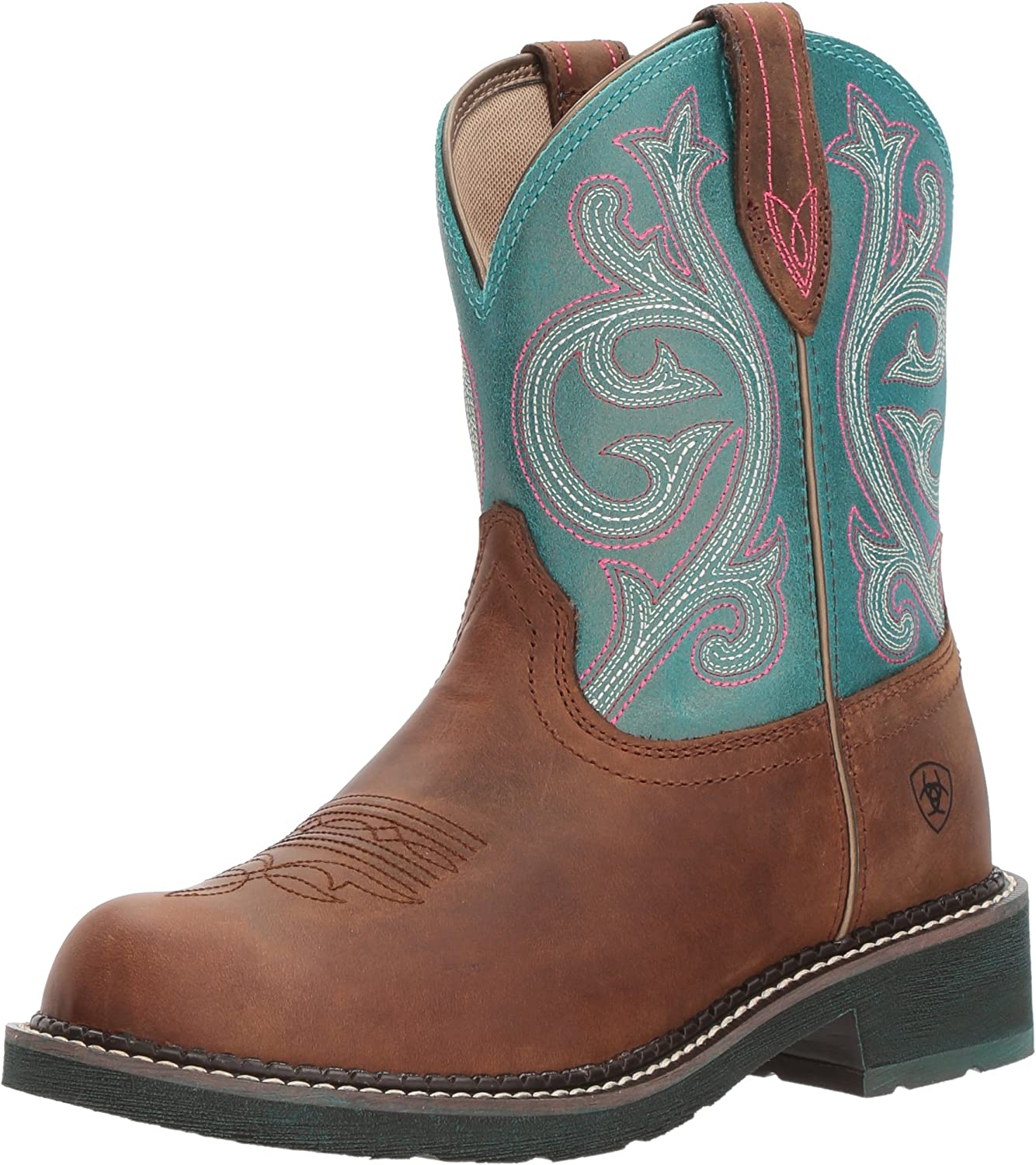 Ariat Women's Fatbaby Heritage Western Boot, Distressed Brown Shimmer Turquoise, 8 B US