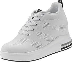 AONEGOLD® Zapatillas de Deporte Transpirables Zapatillas de Cuña para Mujer Alta Talón Plataforma 8cm Sneakers