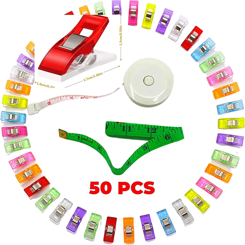 Lote de 50 clips de costura multicolor de plástico y cinta métrica para tejidos, kit de accesorios, pinzas para encuadernar y ganchillo
