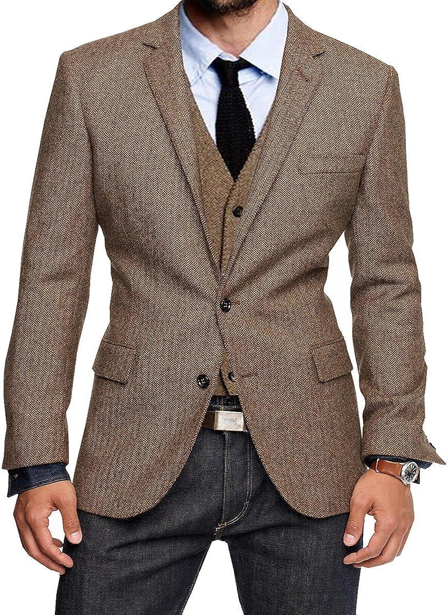 Pretygirl Men's 2 Pieces Business Suits Two Button Casual Suit Tuxedos Blazer and Vest No Trousers