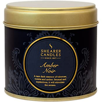 Shearer Candles Amber Noir Large Scented Gold Tin Candle, Black