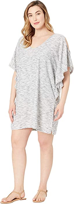 Plus Size Sandstone Flutter, Cold Shoulder Tunic Cover-Up