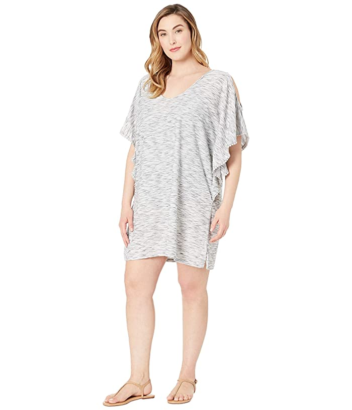 DOTTI Plus Size Sandstone Flutter, Cold Shoulder Tunic Cover-Up (Heather Grey) Women