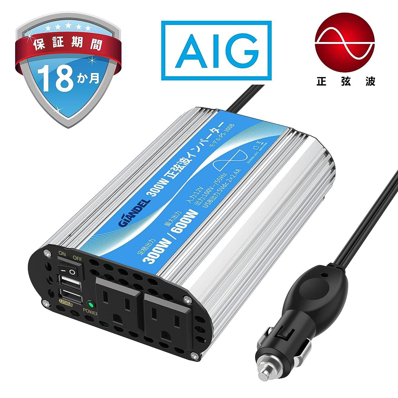 かりてラッドヤードキップリングブラウス正弦波 300Wカーインバーター 車載充電器 変換電源 DC12VをAC100Vに変換 周波数55Hz USBポートつき シガーソケット 非常用品 防災用品 GIANDEL