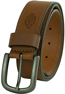 حزام جلدي 100% للجينز بتصميم بغرزات مع مشبك شوكي للرجال من دكيز