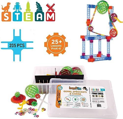 Brackitz Structures - Zahnr r, Kettenr r und Ketten STEM-Lernspielzeug für Jungen und mädchen PreK-6   503 pc ErWeißrungsset