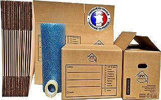 Kit de Déménagement - Fabriqué en France - 10 Grands Cartons de Déménagement Double Épaisseur 55x35x35 cm avec Poignées Do...