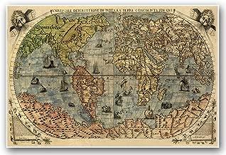 Antiguos Maps Italian Old World Exploration Angel & Cherub MAP by Paolo Forlani Circa 1565 - Measures 24