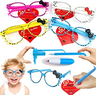 Sponsored Ad - 28 Packs Valentines Day Gifts for Kids Transform Pen Toy Glasses Frame Valentine Day Cards for Kids Colored...