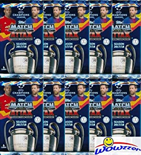 2017/18 Topps Match Attax Champions League Soccer Collection of (10) Factory Sealed Foil Packs with 60 Cards! Look for Top Stars including Ronaldo, Lionel Messi, Neymar Jr.& More!