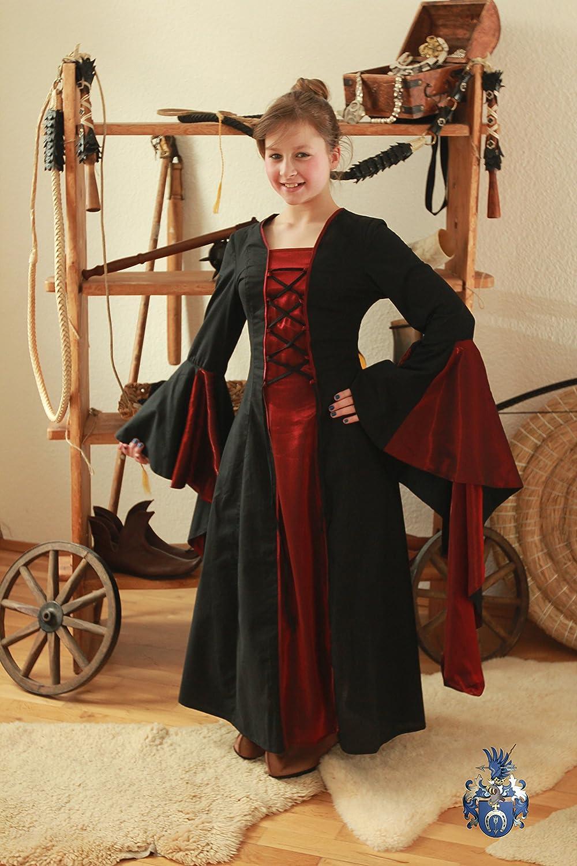 Blaudruck-Greiz Kinderkleid Elisabeth in schwarz-rot (8 Jahre)