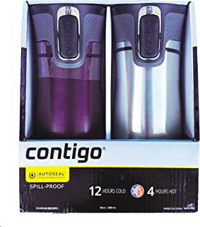 Contigo AUTOSEAL Spill-Proof Stainless Steel VacuumTravel Mug 14oz with Easy-Clean Lid, 2 Pack...