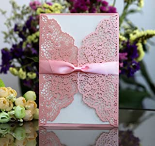 Better-Way 100pcs Laser Cut Wedding Invitations with Lace and Hollow Out Design, Invitations Card with Ribbon for Wedding Baby Shower Engagement Birthday Party (Pink)