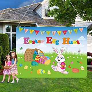 Easter Decorations Easter Banner, Extra Large Fabric Bunny and Chick Sign Poster Easter Lawn Yard Decorations for Easter Hunt Game, Easter Party Photo Booth Backdrop Background Banner, 7 x 5 ft
