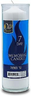Ohr 7 Day Yahrzeit Candle - 1 Pack - Kosher Yahrtzeit Memorial and Yom Kippur Candle in Glass Jar
